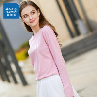 [秒杀价:42.9元,秒杀狂欢再续仅限4.6-4.10]真维斯女装 2020春装新款 简约圆领印花长袖T恤