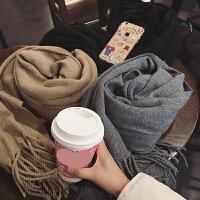 韩版春季围巾女学生加厚针织百搭纯色保暖长款小清新可爱围脖女潮