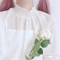 春装韩版内搭款边领百搭花边雪纺甜美打底衫套头上衣学生