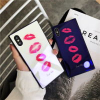 苹果6手机壳6s玻璃壳7/8plus方形软边创意时尚x个性潮女挂绳新款