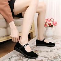 老北京布鞋女鞋平底单鞋休闲工作鞋女黑色软底跳舞女鞋妈妈鞋