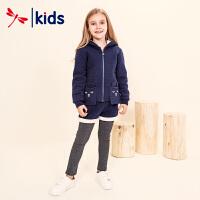 红蜻蜓童装2018冬季新款女孩加绒卫衣长裤宝宝加厚套装儿童保暖衣
