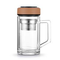 双层耐热玻璃茶杯加厚带把茶杯水晶防摔过滤办公杯家用便携随手水杯