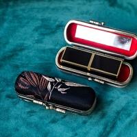 真丝复古刺绣口红盒子便携随身化妆镜唇膏盒礼品包装盒高端精致礼物节日礼品