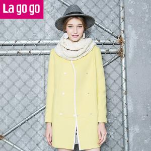 lagogo双排扣中长款毛呢大衣女呢子外套韩版秋冬修身长袖女装