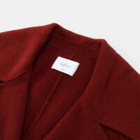 伊芙丽冬装新款韩版中长款毛呢外套长袖宽松羊毛双面呢大衣女