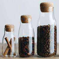 密封罐玻璃透明茶叶罐调料罐木塞咖啡收纳瓶
