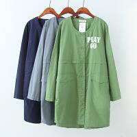 大码女装秋装新款韩版工装款纯棉字母印花中长款薄外套风衣女