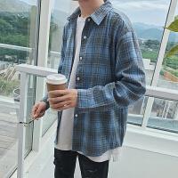 新款背后字母刺绣 男士秋装长袖衬衫 韩版格子拼接男宽松衬衣