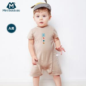 迷你巴拉巴拉婴童连体衣年夏装新款男女宝宝短袖卡通包屁衣