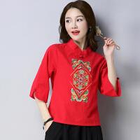 2018春装新款民族风女装文艺刺绣上衣中式复古长袖棉麻T恤女衬衫