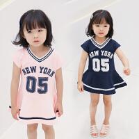 女童洋气数字印花韩版裙子宝宝休闲裙夏装新款儿童运动连衣裙
