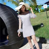 派对小礼服2018春装新款泰国潮牌网纱拼接高腰修身小个子连衣裙女 浅灰色
