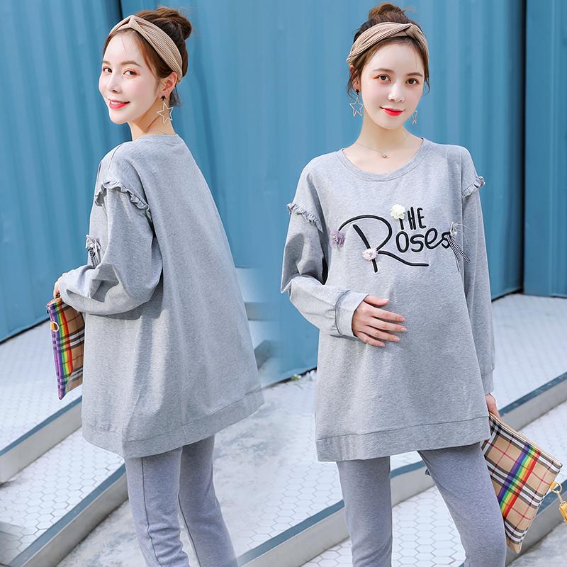 孕妇装秋装套装2018新款两件套宽松长袖中长款孕妇t恤春秋