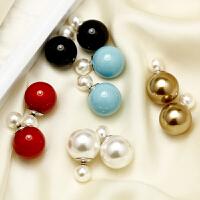 饰品925银饰时尚气质双面贝珠耳环女 前后戴耳钉