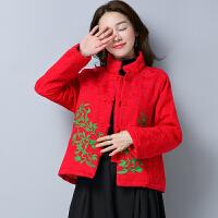 冬季新款民族风女装上衣中式刺绣棉衣提花上衣棉袄短款外套女