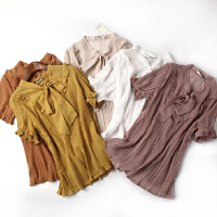 夏季新款女装 轻薄半透纯色系带领百褶上衣 H@--C窗1-8826