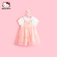 hellokitty女童连衣裙2021夏季新款洋气公主裙宝宝儿童装网纱裙子