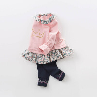 davebella戴维贝拉2018春季新款套装 女宝宝喇叭袖休闲套装DB7390