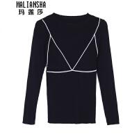 玛莲莎设计感针织衫女韩长袖秋冬黑色毛衣修身打底衫上衣 均码