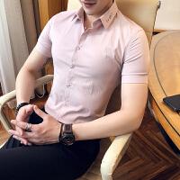 男士中袖衬衫男小码S码韩版修身衬衣青年帅气三分袖衬衫纯色打底