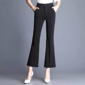 春季新款时尚微喇裤显瘦高腰喇叭裤九分裤女夏显�C女休闲裤
