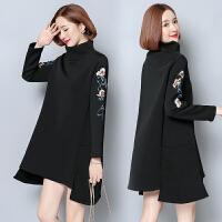 韩国孕妇冬装新款大码中长款加绒绣花连衣裙气质职业上班服打底衫