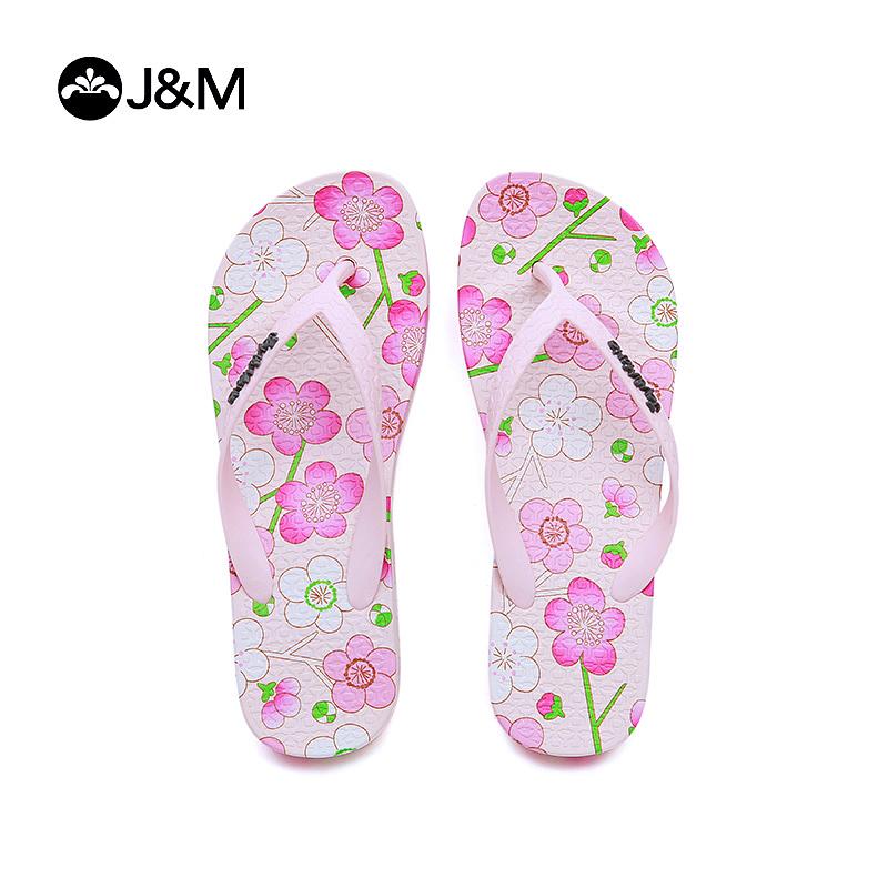 jm快乐玛丽夏季时尚花朵平底夹趾拖鞋时尚沙滩鞋人字拖女鞋T1051W
