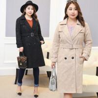 胖mm大码女装秋冬新款加肥加大码复合蕾丝韩版中长款大衣外套