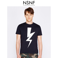 NSNF夜光闪电纯棉圆领黑色男款T恤 男装2017短袖新款 修身针织短袖潮牌男装