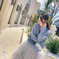 2018秋冬款复古长袖针织毛衣超仙气网纱半身裙两件套装仙女连衣裙