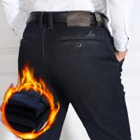 冬季中年男士加绒牛仔裤中老年人加厚男裤宽松高腰爸爸直筒40岁50