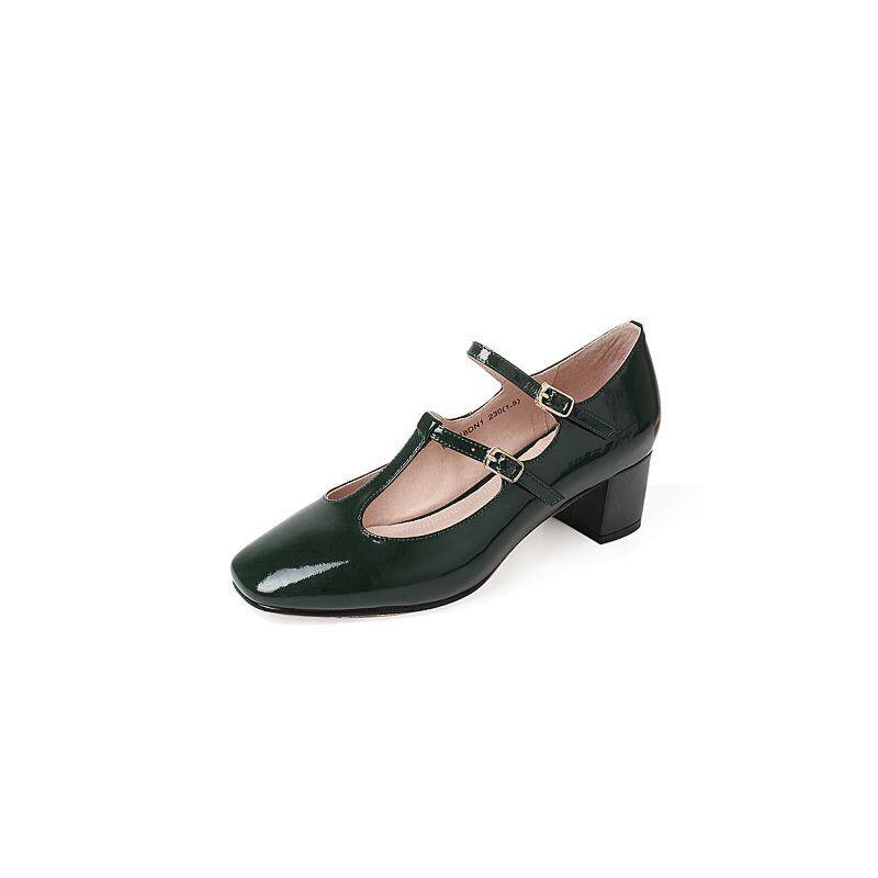 Tata/他她2017年夏季漆牛皮优雅复古丁字式扣带女玛丽珍鞋MLZ18BQ7