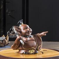 西游记猪八戒陶瓷茶宠摆件招财猪摆件车载饰品茶配件紫砂茶玩可养