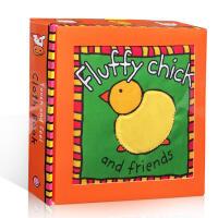英文原版Fluffy Chick and Friends 毛茸茸的小鸡和朋友们 宝宝玩具 亲子启蒙阅读动物认知 触摸书