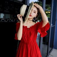 泰国一字领中长款连衣裙女2018新款夏一字肩沙滩海边度假红色裙子