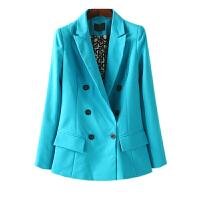 女装秋冬装 欧美风西装领双排扣女士西服长袖外套女百搭