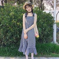 夏季女装韩版小清新中长款抹胸吊带裙无袖格子连衣裙显瘦打底长裙