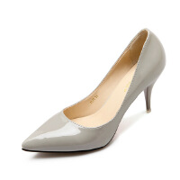 【包邮】2017春季新款白领高跟鞋黑色韩版单鞋7.5c细跟尖头鞋上班工作鞋漆皮裸色鞋2170MSN