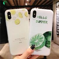 苹果6手机壳iPhone7磨砂浮雕软壳6sp防滑8plus夏日水果x创意柠檬小清新时尚男女新款6s硅胶全包边防摔保护套