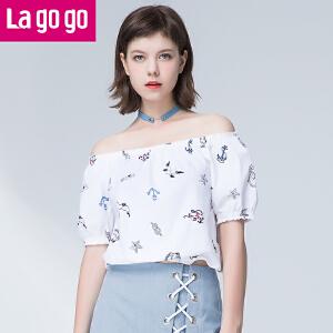 Lagogo拉谷谷2017夏新款女装一字领印花T恤纯棉木耳边短袖上衣女