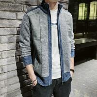 男毛衣外套开衫青少年学生加绒加厚冬季保暖男上衣拉链立领针织衫