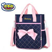 巴布豆小学生书包女补习袋儿童手提拎书袋补课包斜挎包美术三用包