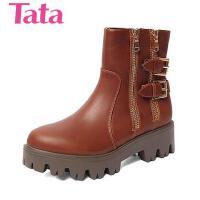 Tata/他她专柜同款油蜡牛皮革女靴2DO41DD5 专柜1