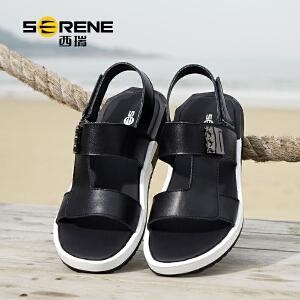 西瑞男士皮凉鞋夏季休闲沙滩鞋韩版2018新款户外潮流黑色拖鞋青年2188