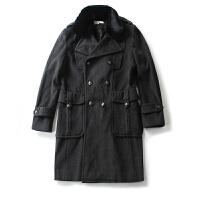 男装外套冬装 简约风纯色双排扣毛领外套长袖毛呢大衣男