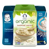 【米粉组合】嘉宝Gerber 婴幼儿辅食米粉 1段有机燕麦+DHA大米+燕麦 227g*3罐 海外购