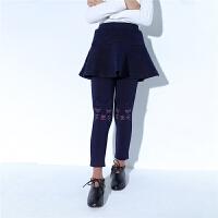 新款拉夏贝尔女童裤子儿童保暖裙裤卡通加厚韩版洋气潮