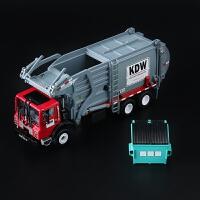 1:24合金工程车模型 儿童玩具车垃圾运输车 环保清洁物料车 红色