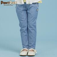 【3件4.5折 到手价:179】Pawinpaw宝英宝卡通小熊童装秋季款女童全棉水洗牛仔裤